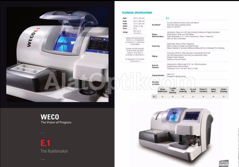 Weco E-1 Full Automatic Edger
